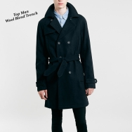 Navy wool bled trench