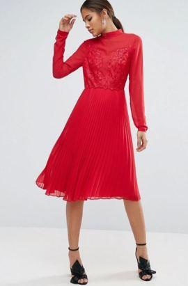 Asos Tall High Neck and Lace Insert Pleated Midi Dress