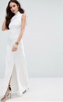 Missguided High Ewrap Neck Maxi Dress - Asos