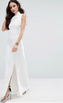 Missguided High Ewrap Neck Maxi Dress - Asos