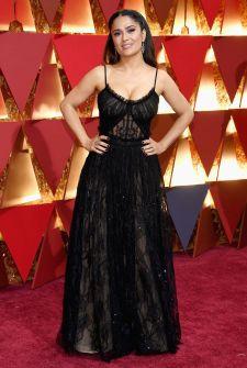 Salma Hayek - Alexander McQueen dress, Sophia Webster shoes & Fred Leighton jewellery.