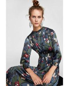 Blue Floral Dress Zara