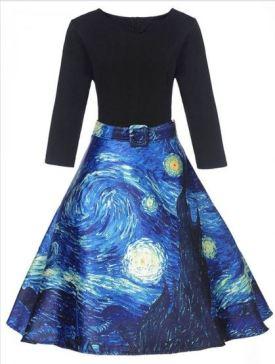 Taryn /Withchic - V Neck Starry Night Dress